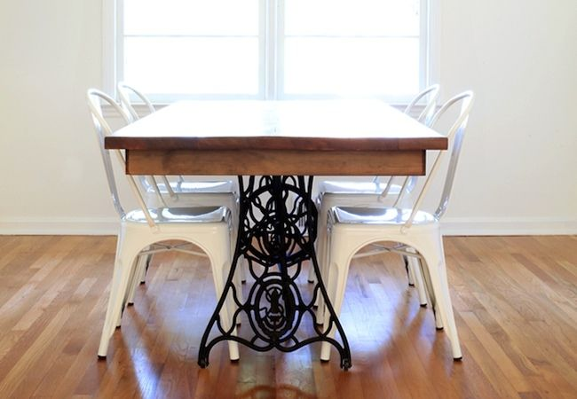 DIY dining table from vintage sewing machine