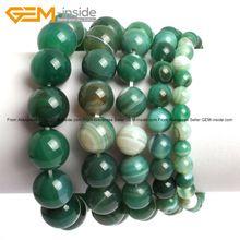 Ónix verde Sardonyx Ágata Energía Elástica Pulseras de Moda de Joyería 6-14mm 7 pulgadas de Largo FreeShipping Al Por Mayor de piedras Preciosas en el interior(China (Mainland))