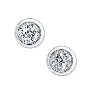 9ct white gold diamond solitaire stud earrings - Product number 9447261
