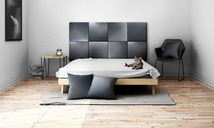 Headboard - upholstered modular wall panels OMBRE No. 2003 Grey by DesignPolski on Etsy