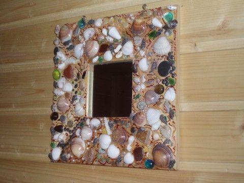Зеркало с ракушками и камнями.   Умелые ручки