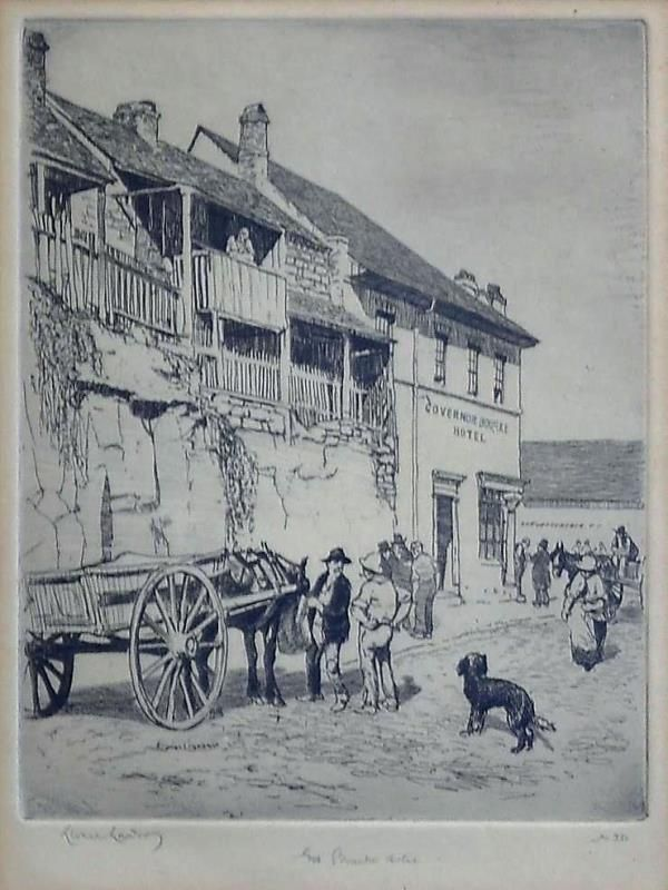 The Bourke Hotel, etching by Lionel Lindsay