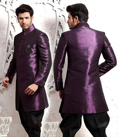 Modern bright purple sherwani