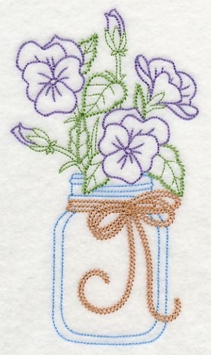 Blooming Violas in Mason Jar (Vintage) design (L9385) from www.Emblibrary.com