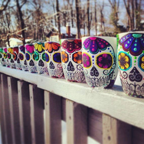 Custom Hand painted sugar skull mug made to by ArianaVictoriaRose, $17.00