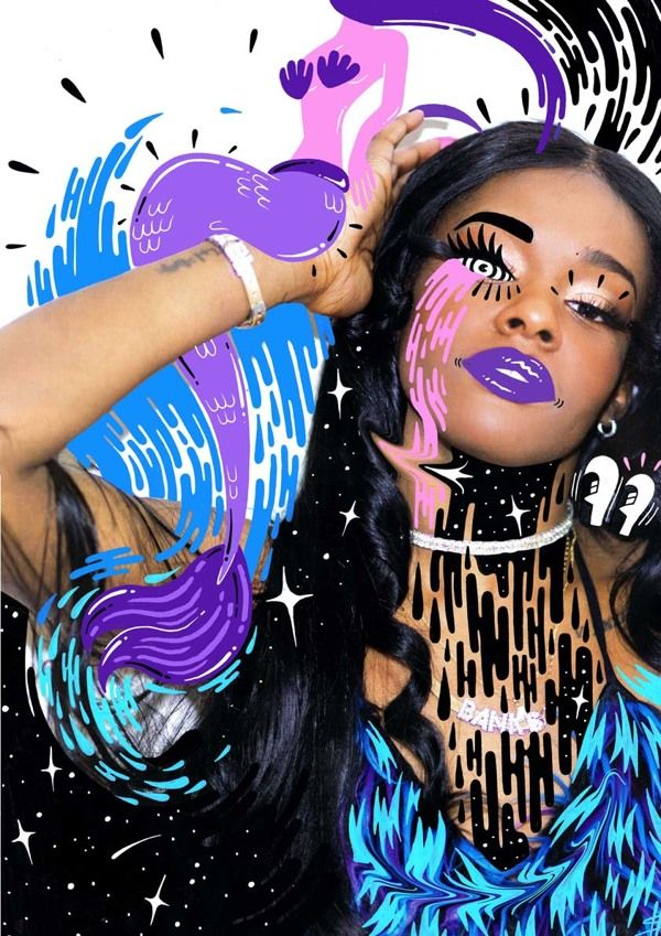 A collaboration for Azealia Banks, with photography by Jam Sutton featuring illustrations created by artist Hattie Stewart.