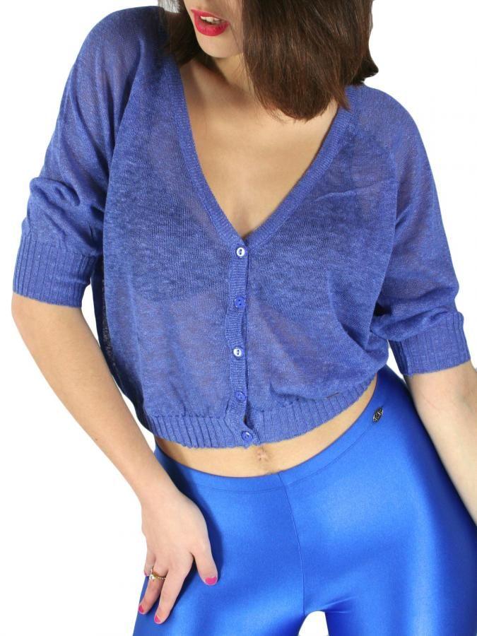 BSB Γυναικείο πλεκτό ζακετάκι μπολερό, μπλέ ρουά χρώμα. 34,90 €