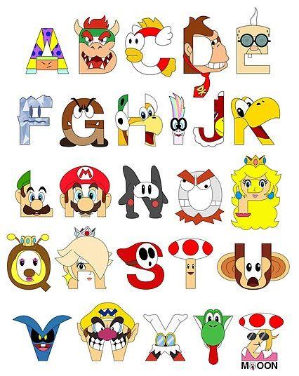 Mario Nintendo Alphabet