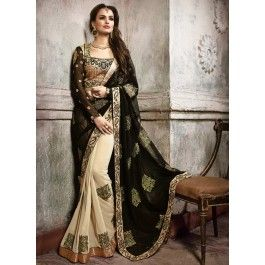 Splendid Cream Colored Embroidered Faux Georgette Saree 6022 - Wedding Sarees - By Occassion - SAREES - Women - Categories