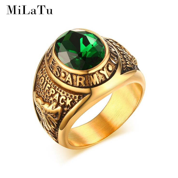 MiLaTu Largre Deluxe United States Army Military Ring Gold Plated Stainless Steel Punk Vintage Men Jewelry R496G