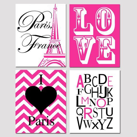 Chica Wall Art - París, Torre Eiffel, Amore alfabeto, Chevron corazón Paris, amor Stencil - Set de 8 x cuatro 10 impresiones - Elija sus colores