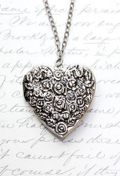 Large Heart Locket Necklace Antique Silver