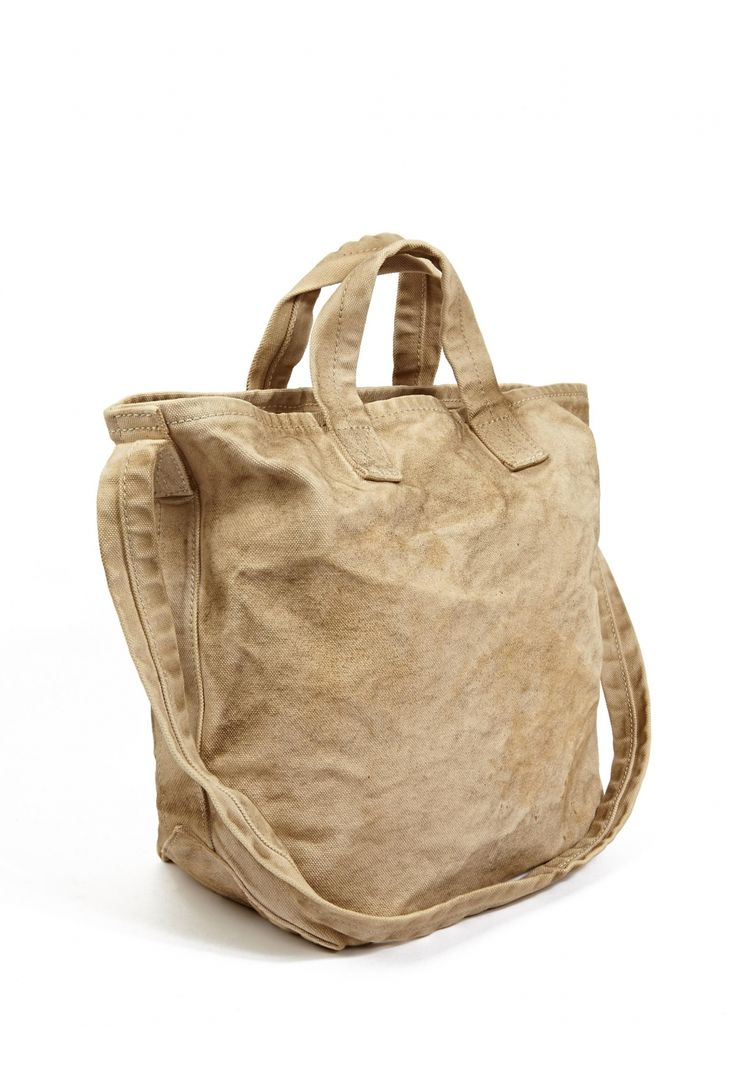 Men's Sand Aged-Effect Canvas Shopper Bag