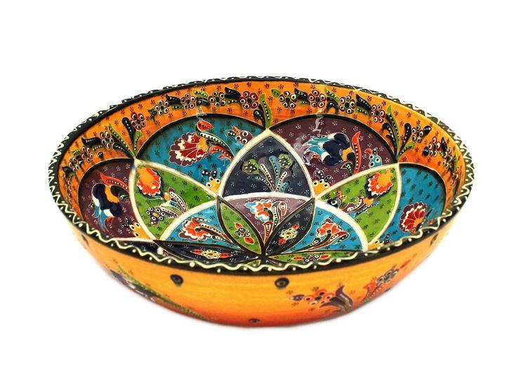 Schüssel 26 cm in gelb, roter Colorierung handgemacht aus Keramik. Detailreich nach ottomanen Style und Mustern handbemalt.Herstellung: Handmade Ceramic Bowl Turkey, feel west Anatolia!