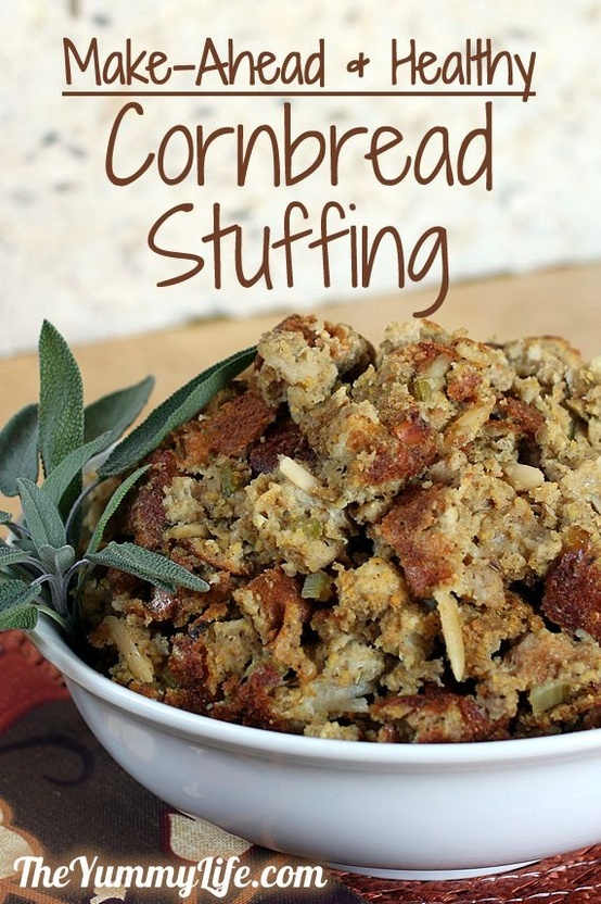 Make-Ahead Cornbread Stuffing from The Yummy Life