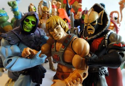 Skeletor, He-man and Hordak - helping He-man stand up after one too many Eternian fruit punches.