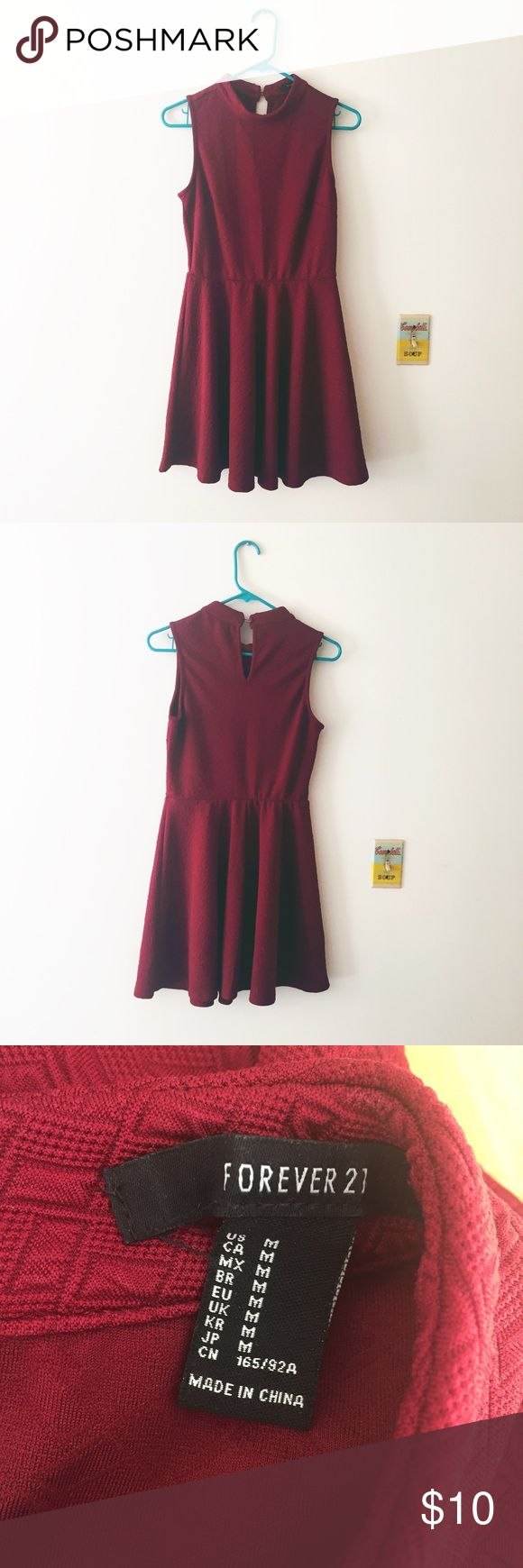 Forever 21 red high collar dress Forever 21 red high collar dress. Only used once Forever 21 Dresses Midi