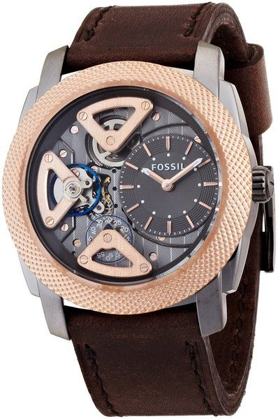 Fossil Machine ME1122 Twist Brown Leather Men's Watch on Sale at WatchWarehouse.com