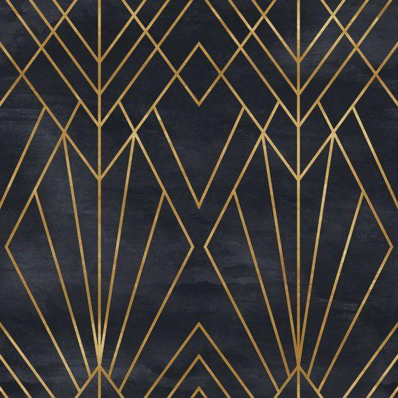 Removable Peel N Stick Wallpaper Self Adhesive Wall Mural Geometric Black Gold Pattern Watercolor Black Background Art Deco Art Deco Pattern Art Deco Design Art Deco Wallpaper