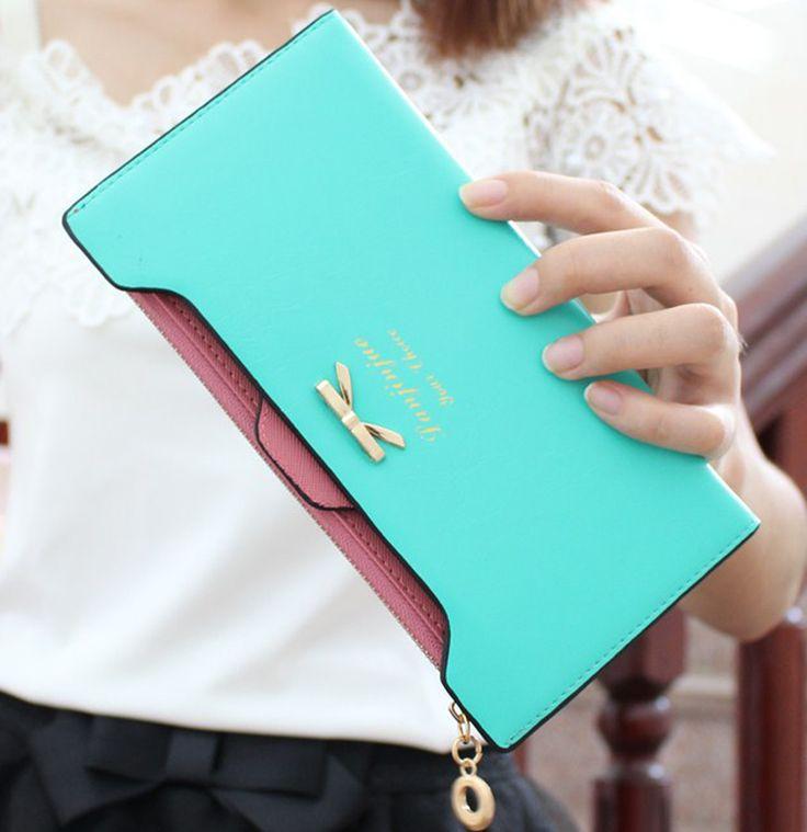 2016HOT! longo Wome Carteiras Moda Rosa Azul Bolsa Feminina Doce Cor Arco Nó Carteira Feminina de Couro PU Saco De Embreagem Cartão
