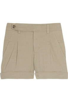 Vince Stretch linen and cotton-blend shorts