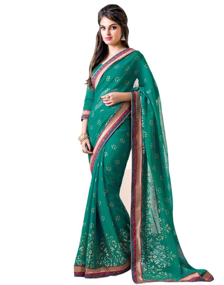 Green Georgette with Zari Resham Embroidery and  Lace Border worked Saree