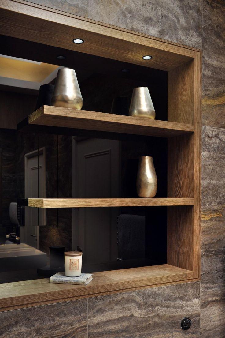 Niched display shelves - wood ledge, black tinted mirror backing
