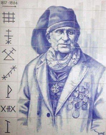 CEGO DO MAIO (1817-1884), lendário herói, salva-vidas e pescador poveiro do século XIX, protagonista da história trágico-marítima da Póvoa de Varzim. Painel de azulejos existente no paredão junto ao mar, da autoria do pintor poveiro Fernando Gonçalves.