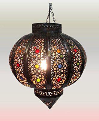 Antique Brass Ball Moroccan Ceiling Lantern In Hand Pierced Tin