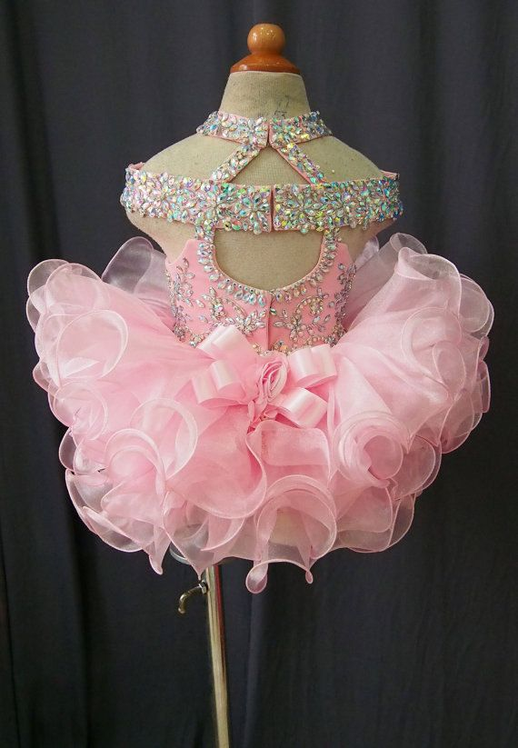 Beautiful National Pageant Dress Made for Lovely Little Princess. It is one piece dress. Bodice made of stretch jersey that can fit your baby very