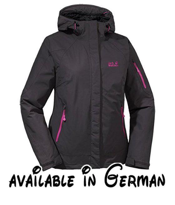 Jack Wolfskin Damen Wetterschutzjacke Affinity Jacket Women, Dark Steel, XL, 1103501-6033005. Wetterschutzjacke für Wanderungen mit Rucksack. wasserdicht, winddicht. atmungsaktiv. sehr strapazierfähig. kurzer Schnitt #Sports #SPORTING_GOODS