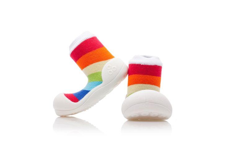 Wesołe i kolorowe buciki - skarpety Attipas Rainbow White