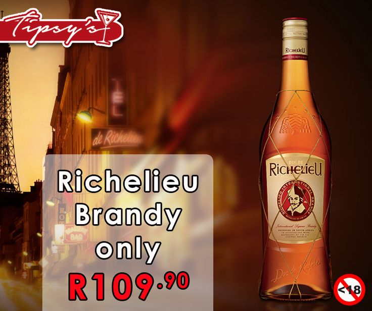 Get a 750ml bottle of Richelieu brandy for only R109.90 from #TipsysLiquorBoutique. Alcohol not for sale to persons under the age of 18, please drink responsibly, do not drink and drive, T's & C's Apply, while stocks last, E & OE.https://www.facebook.com/792063187523700/photos/a.836522543077764.1073741830.792063187523700/917875098275841/?type=1