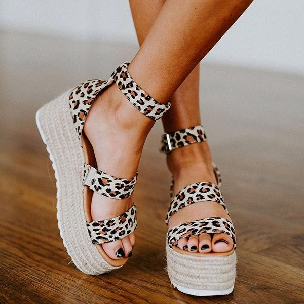 Espadrille Open Toe Ankle Strap Platform Sandals