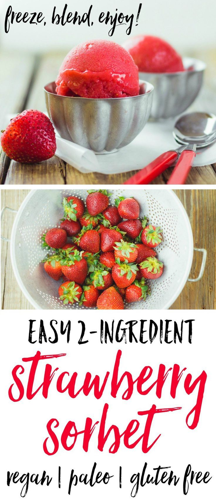 I love this easy 2-Ingredient Strawberry Sorbet! Frozen strawberries + a splash of maple syrup or agave + a whirl in the food processor = cold, creamy, intensely strawberry-riffic sorbet! Healthy and SO delicious!