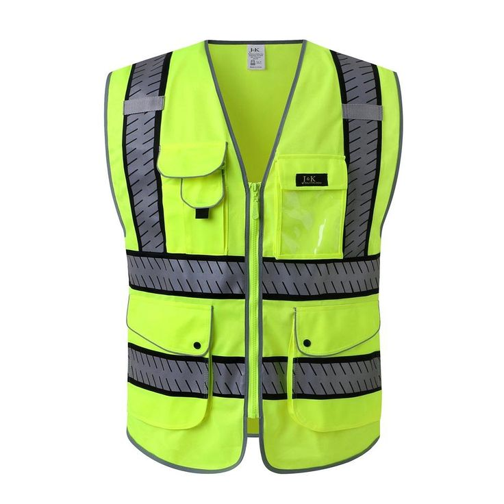 J.K 9 Pockets Class 2 High Visibility Zipper Front Safety Vest With Reflective Strips, Segmented Fishbone Tape Design, Yellow Meets ANSI/ISEA Standards (X-Large, Yellow)