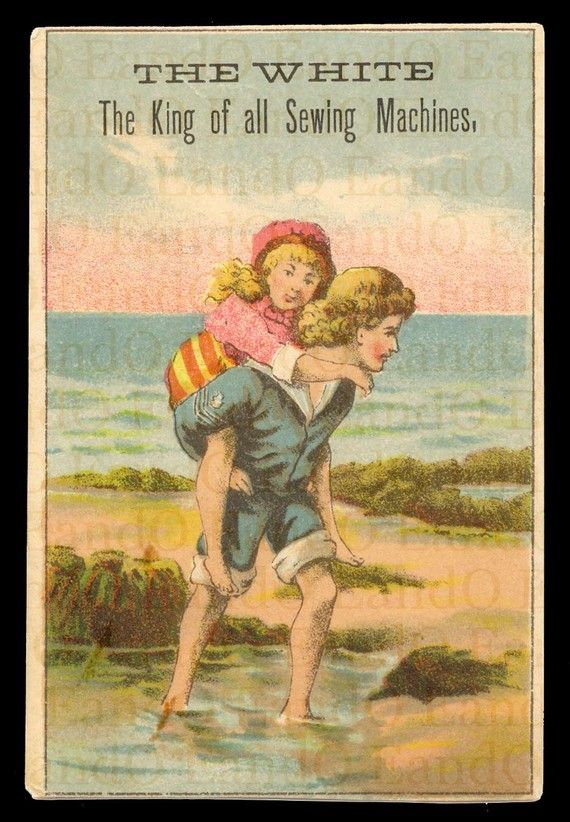 Victorian Trade Card 19th century 1800s...The White...The King of all Sewing Machines