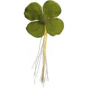 Trèfles à 4 feuilles porte bonheur les 12 de 6 cm en voile de coton et fibre Naturelle,