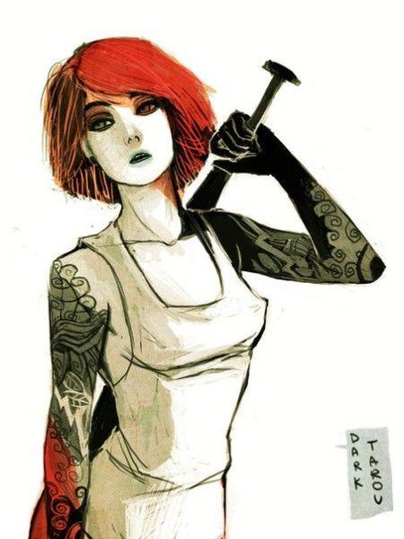 красные короткие волосы арт - Поиск в Google