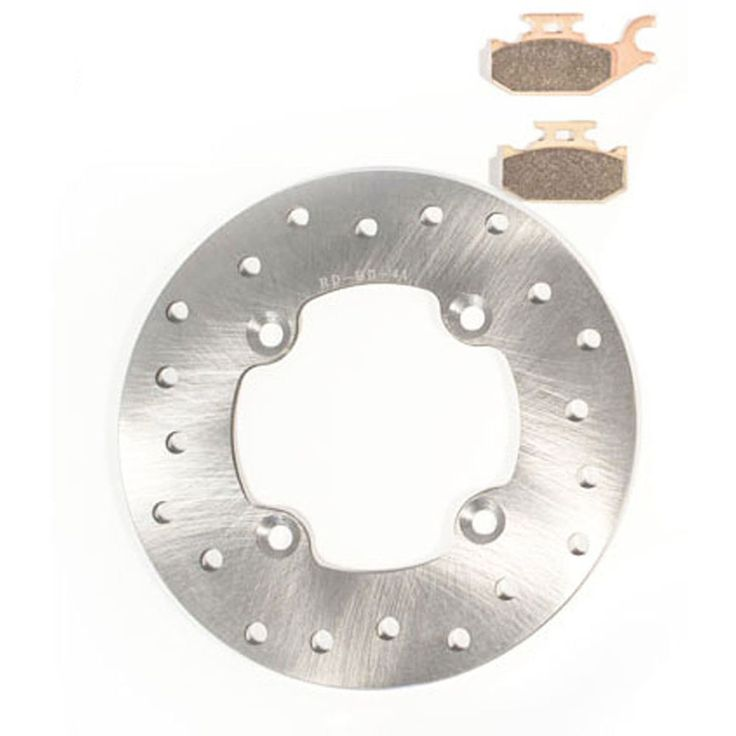 2007 2008 Can-Am Outlander 400 Rear Brake Rotor Disc and Severe Duty Brake Pads, Silver stainless steel
