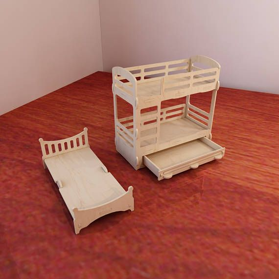 Dolls furniture Pack. Vector models for CNC router and laser cutting. 1:6 scale. Doll house kit. Plywood toy. Toys for girls. DXF, CDR.