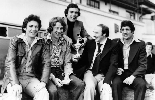 No Hammers fan will ever forget their first relegation dog fight experience and 1976-77 was my maiden seat of the pants time. Caption:18th April 1977: West Ham United footballers, Mervyn Day, Tommy Taylor, Trevor Brooking, Bryan Robson and Bobby Ferguson, winners of the Evening Standard team award. (Photo by Evening Standard/Getty Images)
