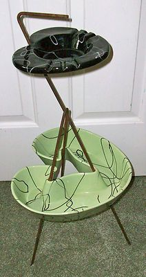 Hull Pottery Mid-Century Modern Ashtray  Planter on Stand Black  Green