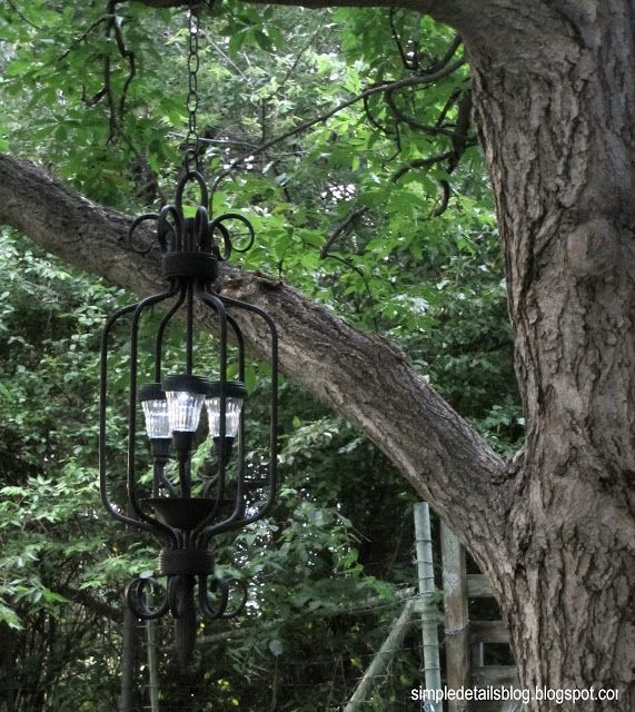 Diy outdoor solar powered chandelier would look really cool hanging diy outdoor solar powered chandelier would look really cool hanging from a the tree in mozeypictures Image collections