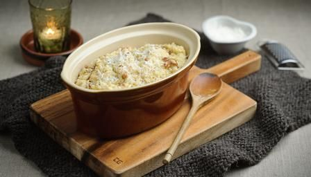 oven-baked risotto carbonara. I love stuff you can just thrown in and leave. From bbc food