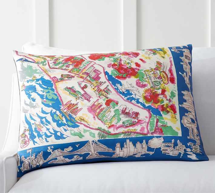 New York Scarf Print Pillow Cover