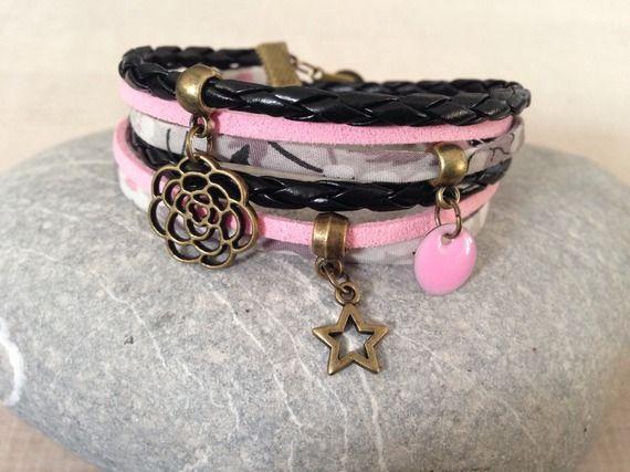 Bracelet Liberty, cuir et suédine gris et rose