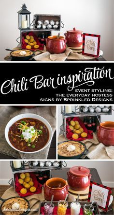 Chili Bar Sign - Gold Red Black Buffalo Plaid Flannel - Lumberjack Birthday Party Printable, Winter Birthday Baby Shower Party Decorations by SprinkledDesigns.com