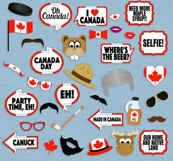 Canada Party props, diy photo booth printables - 11 x Speech Bubbles, 24 x Items Just purchase the digital file to print and cut out at home. --------------------------------------------------------------------------------------------------- - - - LISTING INCLUDES - - - 1. 11 x Speech Bubbles 2. 24 x Items 3. 1 x Printable photo booth sign 2 PDF documents for easy printing. This listing is for a digital file(s) of design shown only. All Digital Files will be sent as PDF(s) --------------...