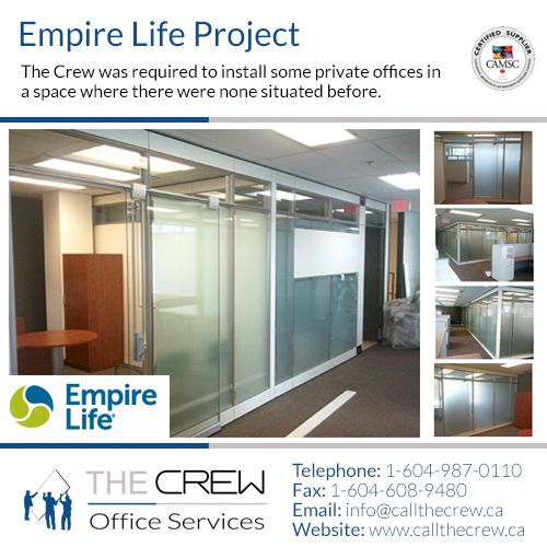 We built several of these beautiful metal and glass offices to the clients exact specifications and moved the office furniture around to optimize their working space. For more information on glass walls Call The Crew at: 1-604-987-0110